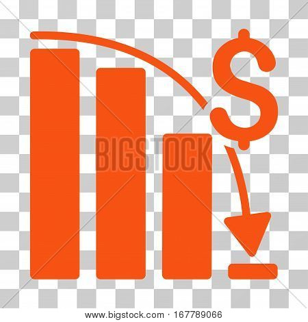 Epic Fail Trend icon. Vector illustration style is flat iconic symbol, orange color, transparent background. Designed for web and software interfaces.