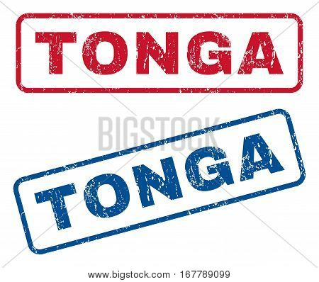 Tonga text rubber seal stamp watermarks. Vector style is blue and red ink caption inside rounded rectangular shape. Grunge design and dust texture. Blue and red stickers.