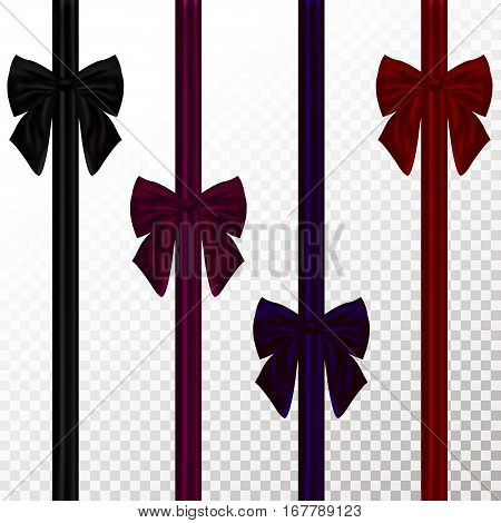 Set of color decorative bow Vector illustration Black purple dark blue and red decorative bow on transparent background Realistic style