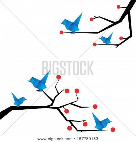 Origami bird Vector illustration Blue bird origami sitting on the branches of trees with berries Flat design and paper art