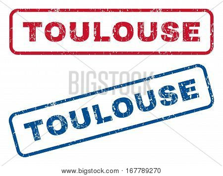 Toulouse text rubber seal stamp watermarks. Vector style is blue and red ink tag inside rounded rectangular shape. Grunge design and dust texture. Blue and red emblems.