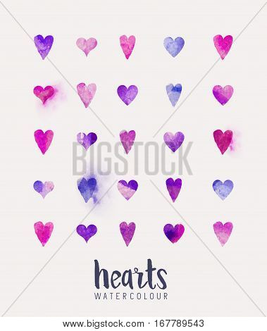 A collection of love hearts in watercolour. Vector illustration