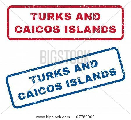 Turks and Caicos Islands text rubber seal stamp watermarks. Vector style is blue and red ink caption inside rounded rectangular shape. Grunge design and scratched texture. Blue and red emblems.