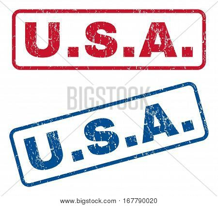 U.S.A. text rubber seal stamp watermarks. Vector style is blue and red ink tag inside rounded rectangular shape. Grunge design and unclean texture. Blue and red signs.