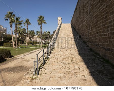 Rampart walls in old city Akko or Acre, Israel