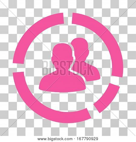 Demography Diagram icon. Vector illustration style is flat iconic symbol, pink color, transparent background. Designed for web and software interfaces.