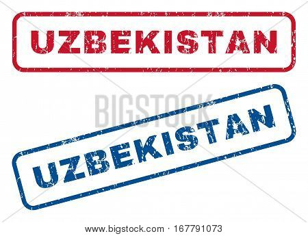 Uzbekistan text rubber seal stamp watermarks. Vector style is blue and red ink tag inside rounded rectangular shape. Grunge design and scratched texture. Blue and red stickers.