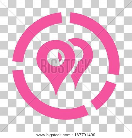 Geo Diagram icon. Vector illustration style is flat iconic symbol, pink color, transparent background. Designed for web and software interfaces.