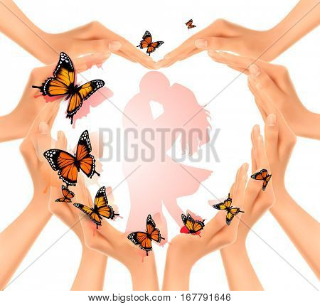 Valentine's day background. Hands in a shape of a heart with butterflies. Vector.