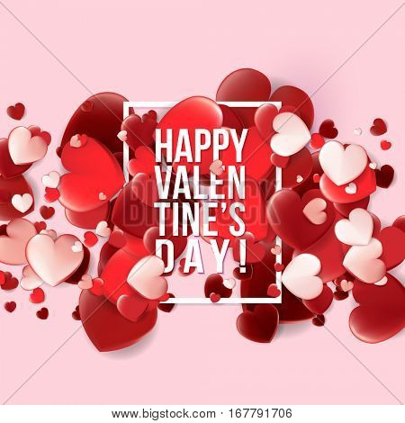 Valentines Day card with red hearts with text. Vector illustration
