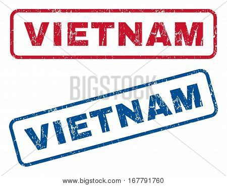 Vietnam text rubber seal stamp watermarks. Vector style is blue and red ink tag inside rounded rectangular shape. Grunge design and dirty texture. Blue and red stickers.