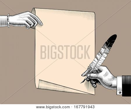 Woman's hand holding a paper sheet and man's hand with a feather pen. Vintage engraving stylized drawing. Vector illustration