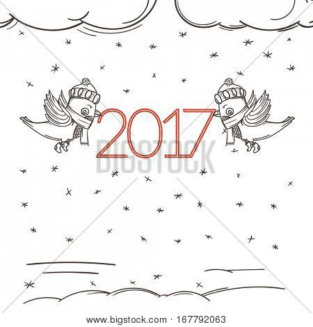 Happy new 2017 greeting card template with characters.  New years decoration element. Vector Illustration