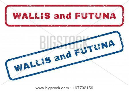 Wallis and Futuna text rubber seal stamp watermarks. Vector style is blue and red ink caption inside rounded rectangular shape. Grunge design and scratched texture. Blue and red emblems.