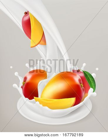 Milk splash and mango, 3d vector object. Natural dairy products
