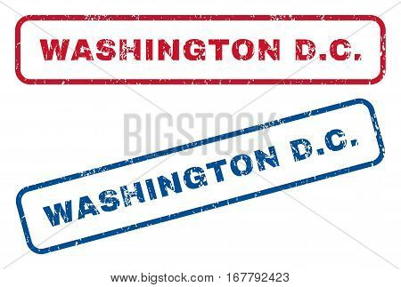 Washington D.C. text rubber seal stamp watermarks. Vector style is blue and red ink caption inside rounded rectangular shape. Grunge design and dust texture. Blue and red stickers.