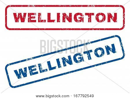 Wellington text rubber seal stamp watermarks. Vector style is blue and red ink caption inside rounded rectangular banner. Grunge design and dust texture. Blue and red emblems.