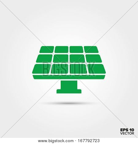 Green Solar Panel Icon. Sustainable Energy Symbol. EPS 10 Vector.