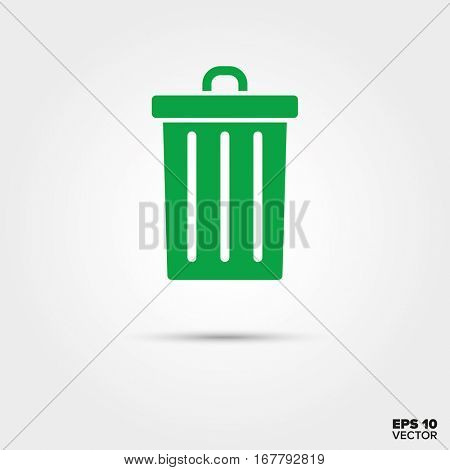 Green trash can Icon. Waste separation symbol. EPS 10 Vector.