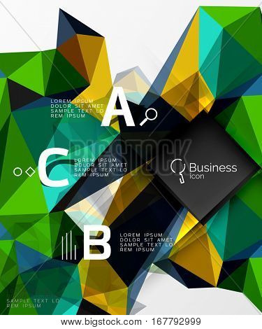 Mosaic low poly abstract background with infographics - abc options with text. Vector template background for workflow layout, diagram, number options or web design