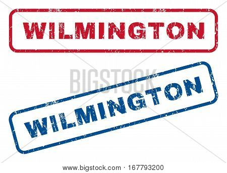 Wilmington text rubber seal stamp watermarks. Vector style is blue and red ink tag inside rounded rectangular shape. Grunge design and unclean texture. Blue and red emblems.