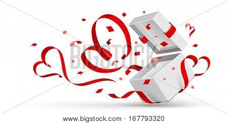 Open gift with red hearts isolated on white. Vector illustration