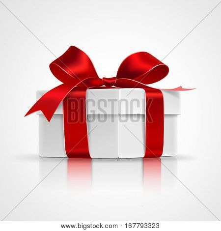 Gift box with red bows isolated on white. Vector illustration