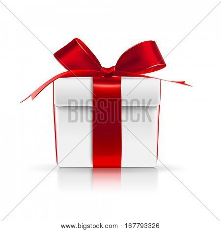 Gift boxes with red bows isolated on white. Vector illustration