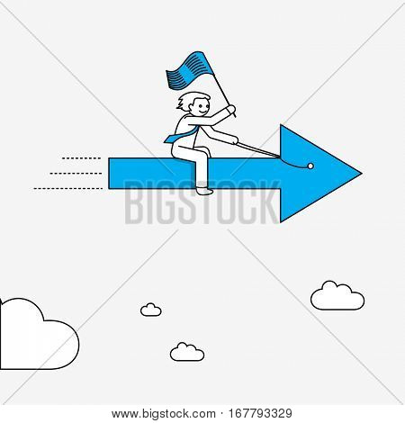 Businessman flying on arrow. Modern illustration in linear style infographics.