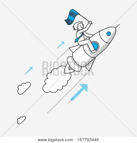Businessman flying on rocket. Modern illustration in linear style infographics.