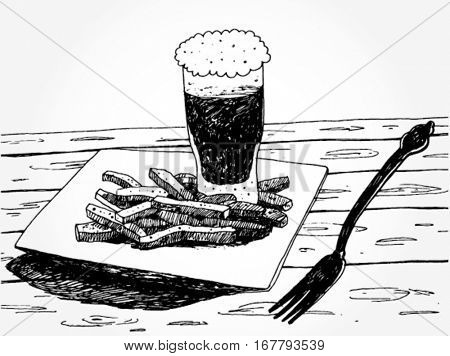 Illustration of Fries with Beer