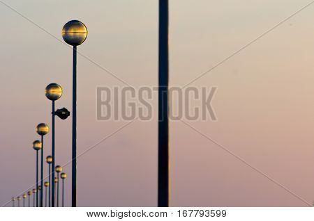 Row Of Lamp Posts