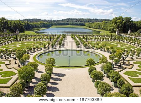 The orangery, castle of Versailles in summer (Versailles France)