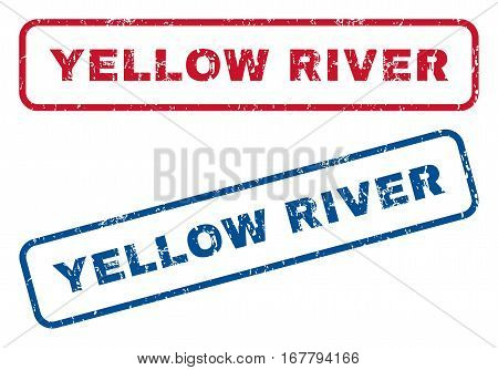 Yellow River text rubber seal stamp watermarks. Vector style is blue and red ink tag inside rounded rectangular banner. Grunge design and unclean texture. Blue and red stickers.