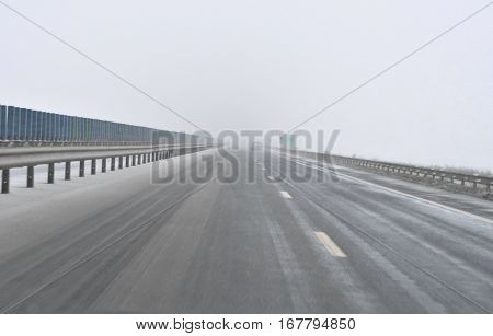 Bad weather conditions on highway during the winter