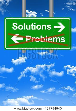 Find solutions to problems concept with text and directions on road sign