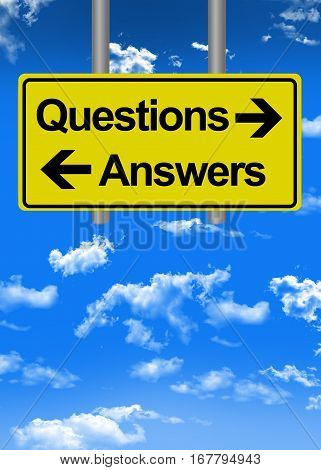Questions and answers directions text on road sign