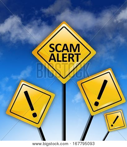 Scam alert ahead text on yellow road signs