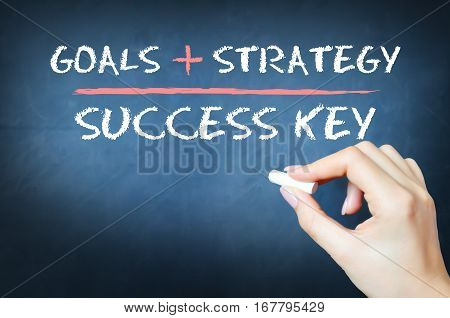 The key to success equation on a blackboard