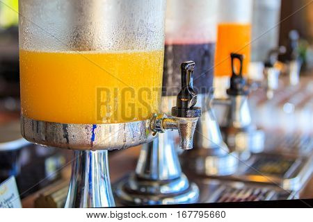 Row of fresh juice at buffet restaurant Juice buffet self service in morning at hotel
