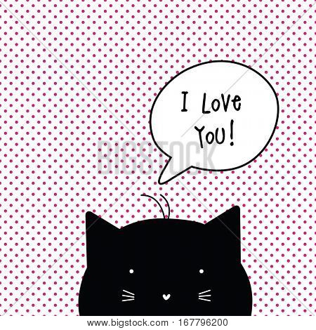 Valentine's card with copy space. I love you. Cat character. Template. Graphic design element.