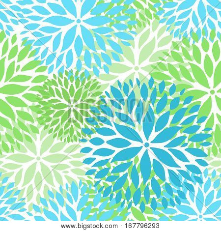 Spring flowers seamless pattern. Blue and green Chrysanthemum flowers background for web, print, textile, wallpaper design.
