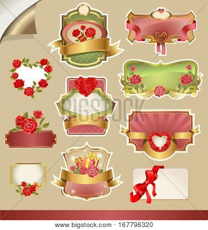 Labels for Valentine s Day in elegant retro style. Free space for text.