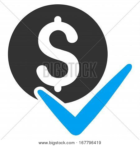 Accept Payment vector pictograph. Illustration style is a flat iconic bicolor blue and gray symbol on white background.