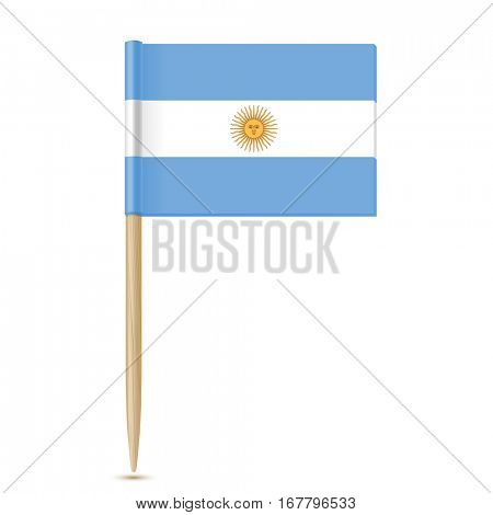 Argentina flag toothpick on white background 10eps