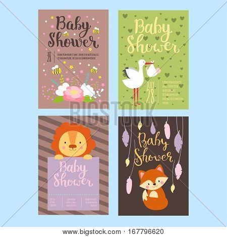 Baby shower design with cute woodland animals born arrival vector graphic. Party template vintage cute birth invitation. Welcome greeting card decoration celebration.