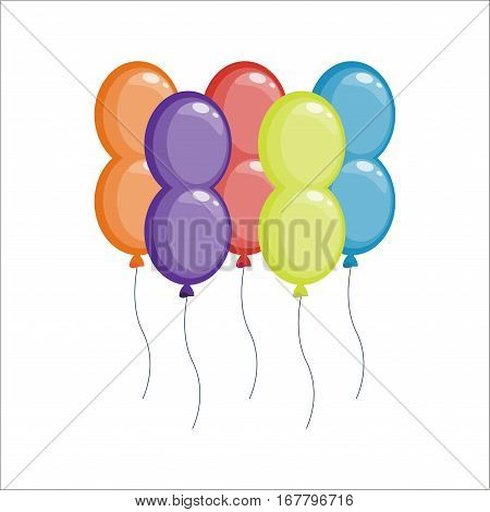 Color glossy balloons vector illustration. Round entertainment holiday festival happy gift. Beautiful toy party day celebrate, isolated helium color carnival tool.