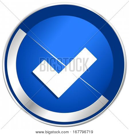 Accept silver metallic web and mobile phone vector icon in eps 10.