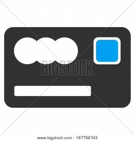 Banking Card vector pictograph. Illustration style is a flat iconic bicolor blue and gray symbol on white background.