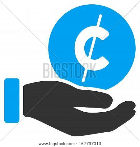 Cent Payment Hand vector icon. Illustration style is a flat iconic bicolor blue and gray symbol on white background.